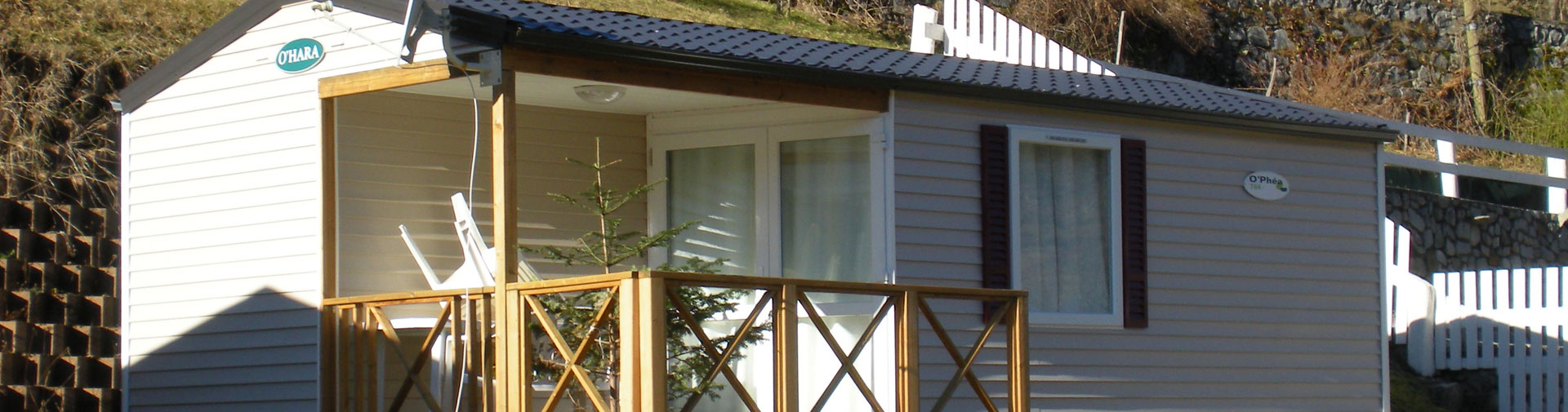 mobil home ohara 2 chambres 4 5 personnes terrasse couverte camping oree des monts hautes pyrenees slide